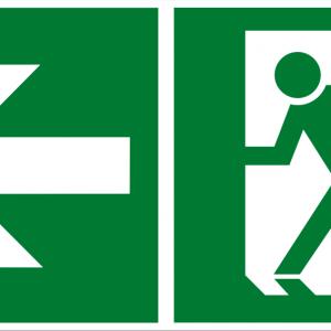 Fluchtwegschild - Notausgang links - lang nachleuchtend - BGV A8-0