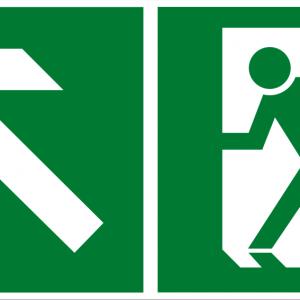 Fluchtwegschild - Notausgang links aufwärts - lang nachleuchtend - BGV A8-0