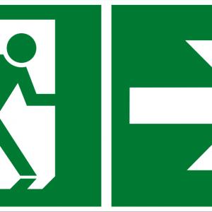 Fluchtwegschild - Notausgang rechts - lang nachleuchtend - BGV A8-0
