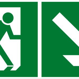 Fluchtwegschild - Notausgang rechts abwärts - lang nachleuchtend - BGV A8-0