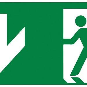 Fluchtwegschild - Notausgang unten - lang nachleuchtend - ISO 7010-0