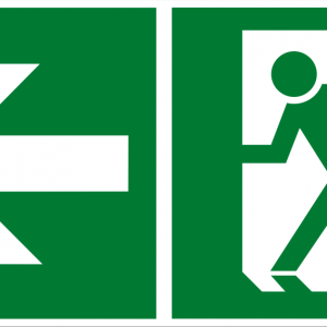 Fluchtwegschild - Notausgang links - nicht nachleuchtend - BGV A8-0