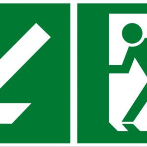 Fluchtwegschild - Notausgang links abwärts - lang nachleuchtend - BGV A8-0