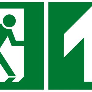 Fluchtwegschild - Notausgang oben - lang nachleuchtend - ISO 7010-0