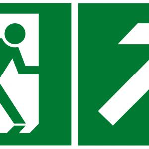 Fluchtwegschild - Notausgang rechts aufwärts - lang nachleuchtend - BGV A8-0
