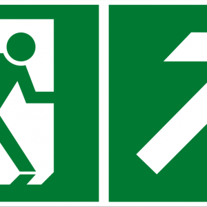Fluchtwegschild - Notausgang rechts aufwärts - nicht nachleuchtend - BGV A8-0