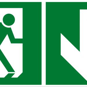 Fluchtwegschild - Notausgang unten - nicht nachleuchtend - BGV A8-0