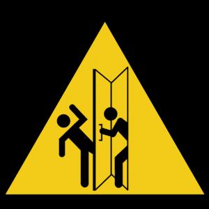 Warnzeichen - aufschlagende Tür - nicht nachleuchtend - ISO 7010 - Folie selbstklebend-0